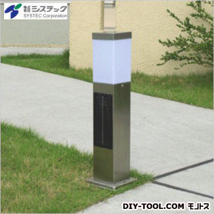 システック  ソーラーポールライト スリム 電球色LED シルバー 高さ:50cm幅:13cm奥行:13cm (SPL-SL-ORS) システック  ガーデンライト ソーラーライト 太陽電池 ライト