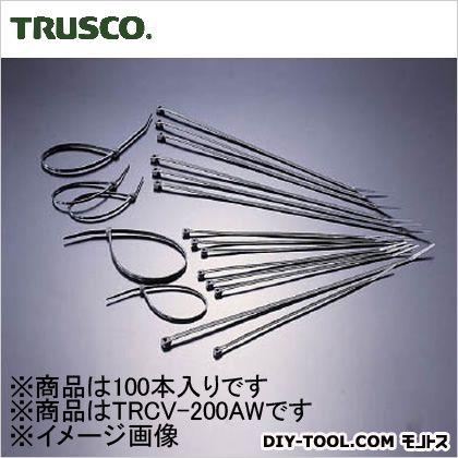 トラスコ ケーブルタイ標準型 幅3.6mm×203mm最大結束φ55 TRCV200AW 100 本