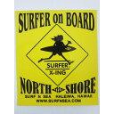 SURF-N-SEA (サーフアンドシー)・ハワイ・ノースショアオリジナルステッカー・シールイエロー×ブラック