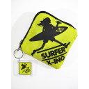 SURF-N-SEA (サーフアンドシー)・ハワイ・ノースショア・エコ ナップサック・サックパック・エコバッグ・イエロー×ブラック・キーホルダー付