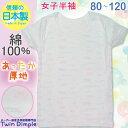 【日本製】【メール便 OK】【あったか肌着】女児厚地半袖シャツ(リボン柄)80/90/100/110/120 日本製ジュニア肌着女の子 10P03Dec16