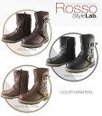 送料無料 レディースブーツ バイクブーツ 女性用 ブーツ ROSSO STYLE Lab 防水ライディングブーツ (ブラウン・ブラック・レッドブラウン)