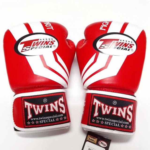 TWINS SPECIAL ボクシンググローブ 8oz Fs赤白 /ボクシング/ムエタイ/グローブ/キック/フィットネス/本革製/ツインズ/大人用/オンス