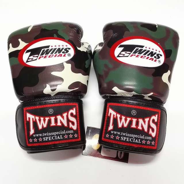 TWINS SPECIAL ボクシンググローブ 8oz 迷彩緑 /ボクシング/ムエタイ/グローブ/キック/フィットネス/本革製/ツインズ/大人用/オンス