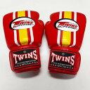 TWINS SPECIAL ボクシンググローブ 8oz 赤黄白ライン /ボクシング/ムエタイ/グローブ/キック/フィットネス/本革製/ツインズ/大人用/オ..