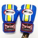TWINS SPECIAL ボクシンググローブ 14oz 青黄白ライン /ボクシング/ムエタイ/グローブ/キック/フィットネス/本革製/ツインズ/大人用/オンス
