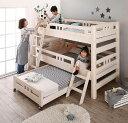 (UF) 頑丈設計のロータイプ天然木ホワイト木目多段ベッド Whitriple ホワイトリプル 3段ベッド シングル (UF1)