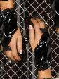 Elegant Moments エレガントモーメント エナメル黒 オープンフィンガーグローブ ボンデージ SM ボンテージ 女王様 指開き 指なし 手袋 リボン付き(V9243)【ゆうP対応】