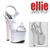 Ellie Shoes エリーシューズ 靴 サンダル ミュール 17cmヒール パーティ 厚底 エナメル 白 ホワイト アンクル ストラップ 22cm 23cm 24cm 25cm 26cm 27cm