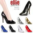 ハイヒール パンプス 即納 送料無料 Ellie Shoes エリーシューズ エナメル 黒 ブラック