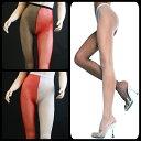 Music Legs左右の脚が違う色!アシンメトリータイツ ツートーンカラーの網パンスト/90019【ゆうP対応】