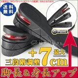 シークレットインソール インソール シークレット レディース メンズ 中敷(エアインソール 身長アップ かかと クッション 衝撃吸収) 靴 スニーカー ブーツ パンプス 3段階調整で最大7cmアップ 左右1組(1ペア)
