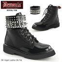 DEMONIA(デモニア) レディース 編み上げブーツ コンバットブーツ RIVAL-106 黒/黒◆取り寄せ