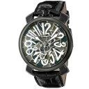 ガガミラノ GAGA MILANO MANUALE 48MM メンズ 時計 腕時計 スイス製 ガガ ミラノ 手巻き モザイク 5012MOSAICO01S-BLK