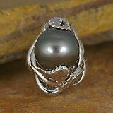 13ミリ南洋ブラックパールリング【シルバー925】【パール・黒真珠】【】