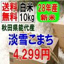 送料無料!!28年産新米!!秋田県能代産・淡雪こまち白米10kg【5kg×2】※北海道・九州・沖縄・離島は別途送料掛かります