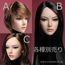 【SUPERDUCK】SDH002 A B C 1/6スケール 植毛 アジア女性ヘッド