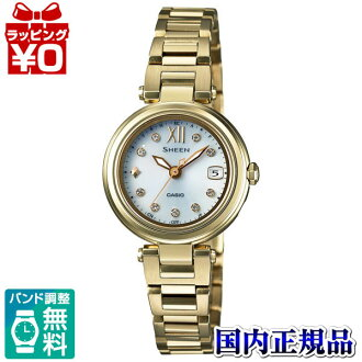 SHW-1504GD-7AJF Casio SHEEN domestic regular product 5 bar waterproof radio solar (Japan and China 2 stations) Swarovski-element adoption watch watch WATCH sales type ladies wrist watch