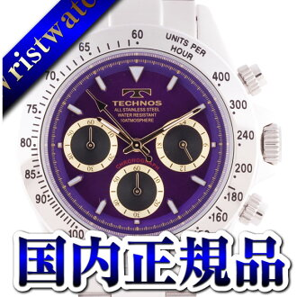 TECHNOS テクノス T4265SU chronograph domestic regular article clockface purple gold 10 standard atmosphere waterproofing men watch sale kind