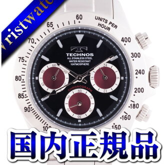 TECHNOS テクノス T4265SR chronograph domestic regular article clockface black wine red 10 standard atmosphere waterproofing men watch sale kind