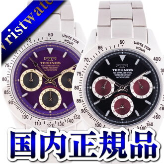 TECHNOS テクノスクロノグラフ domestic regular article clockface black wine red or purple gold 10 standard atmosphere waterproofing men watch sale kind