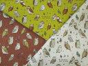 森のふくろう柄 綿麻キャンバスプリント 10cm単位カット メール便は2.0m(個数20)まで対応可能