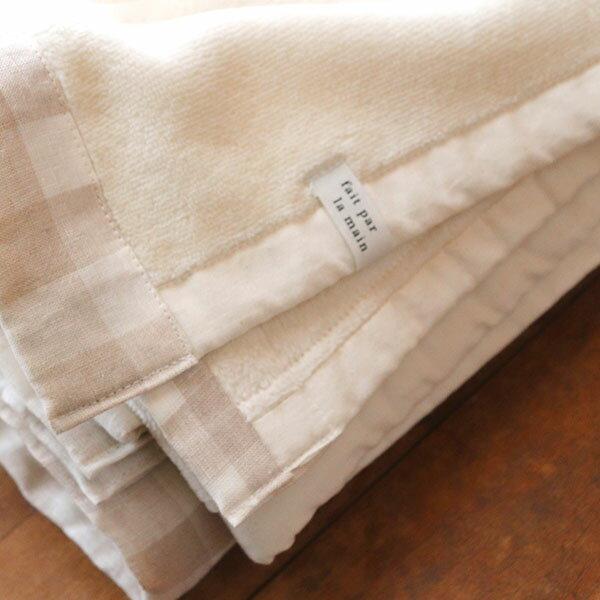 リネンチェック・ ベビー綿毛布