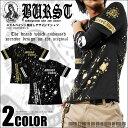 Tシャツ メンズ スカル ペイント柄加工 箔プリント半袖Tシャツ BURST JAPAN オラオラ 悪羅悪羅 カジュアル きれいめ キレイメ ロック M L XL ゴールド シルバー