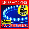 【定形外送料無料】 LEDテープライト チューブタイプ 防水 2枚セット 12V 24cm 水中 イクラ つぶつぶ 全6色 SMD