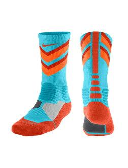 籃球短襪服裝船員短襪耐吉Nike Socks HyperElite Chase Crew Blue/Ora