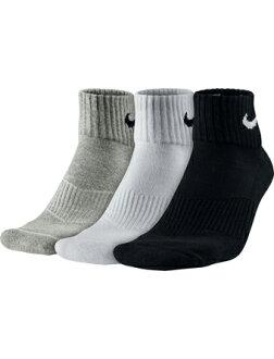 短襪服裝中間船員短襪耐吉Nike 3P Cotton Cushion Quarter Socks Wht/Gry/Blk街道