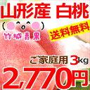山形県産 白桃 3kg(ご家庭用/無袋栽培/8玉〜15玉入り/トレー仕様)