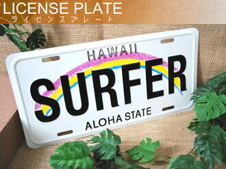 SURFER aluminum license plate
