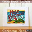 【ヘザーブラウン】【Heather Brown】【クリスマスバージョン】ART PRINT L Christmas Honuへザー ブラウン・アートプリント【ヘザー・ブラウン】【Hawaii】【ハワイ 雑貨】【ハワイアン雑貨】【ハワイアン】