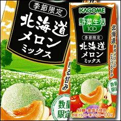 【送料無料】カゴメ 野菜生活100 北海道メロンミックスリーフパック195ml×2ケース(全48本)
