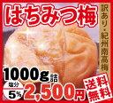 【送料無料】訳あり梅・はちみつ梅 塩分5%お子様にも人気の甘口梅干!大盛り!1kg詰
