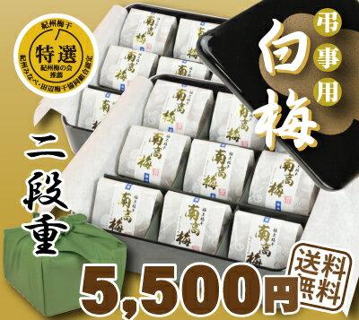 【送料無料】弔事用梅干白梅 二段重高級和紙包 黒...の商品画像