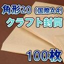 角20封筒(国際A4)角形20 角20 封筒 クラフト/茶 85g 100枚 バラ売り