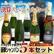 【決算特別価格】 (シャンパンプレゼント付き)ウメムライチ押しシャンパン豪華5本+1本セット