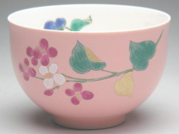 【B級品】カラー千茶(湯呑) ピンク/赤花 [普段使いの食器]