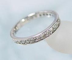 K18WG ダイヤモンド エタニティ リング送料無料 指輪 エタニティーリング ダイアモンド ゴールド 18K 18金 誕生日 4月誕生石 刻印 文字入れ メッセージ ギフト 贈り物 ピンキーリング対応可能 綺麗に並んだ上質ダイヤ