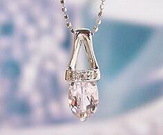 K18WG クンツァイト ダイヤモンド ペンダント送料無料 ネックレス ダイアモンド ゴールド 18K 18金 カットボールチェーン メッセージ ギフト 贈り物 胸元に儚げな気品