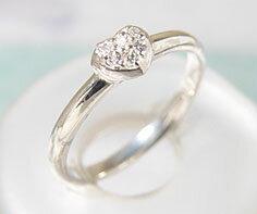 K18WG ダイヤモンド ハート リング送料無料 指輪 ゴールド ダイアモンド 18K 18金 誕生日 4月誕生石 刻印 文字入れ メッセージ ギフト 贈り物 ピンキーリング対応可能 ハートに詰め込まれたダイヤの輝き