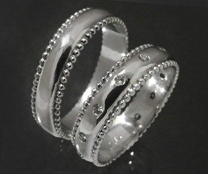 ダイヤモンド マリッジリング 「Polkadots」 K18(レディース:1~20号 メンズ:10~29号)ペアリング セット ホワイト イエロー ピンク ゴールド ダイアモンド 結婚指輪 ギフト包装 刻印無料 優雅に2人包まれて