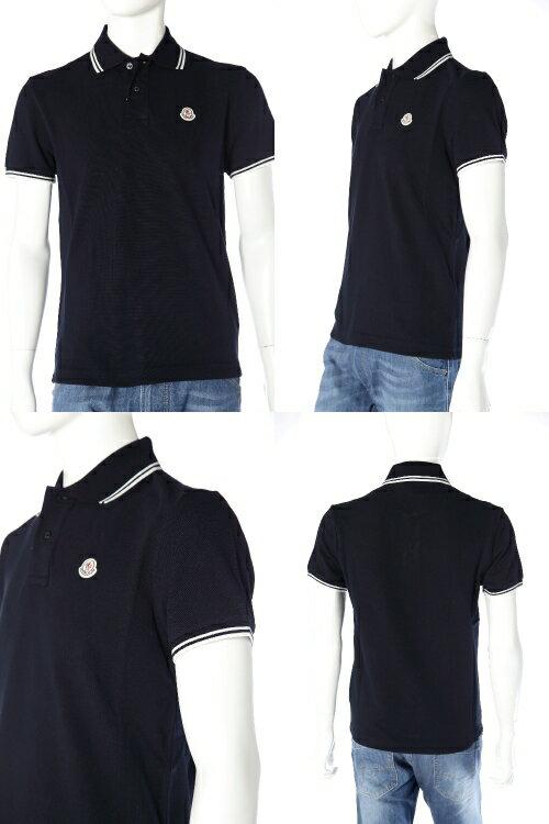 モンクレール【MONCLER】ポロシャツ/半袖【メンズ】(8304300 84093)ネイビー【QUOカードプレゼント】【アウトレット】