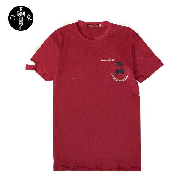 HOMME BOY (オム ボーイ) TEE. 21B 'CHERRY' DISTRESSED (MAROON) [ダメージ/Tシャツ/UNISEX] [マロン]