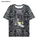 ショッピングロゴス ROCHAMBEAU (ロシャンボー) CORE TEE (HATCH) [Tシャツ カットソー トップス ブランド ロゴ ストリート モード メンズ ユニセックス 総柄 半袖] [ブラック]