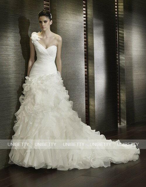 ウエディングドレス ワンショルダー 結婚式 披露宴 演奏会 2次会 格安 激安 ブライダル 送料無料 WS2068