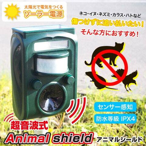 超音波式 Animal shield(害獣撃退器) GH-501害獣 音波 獣除け 光 音 フラッシュライト ねこ 追い払う ねずみ SIS 【D】