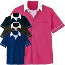 ショッピング半袖 介護ユニフォーム 男女共用 半袖 ニットシャツ HM-2619 ワッフルトリコット ハートグリーン